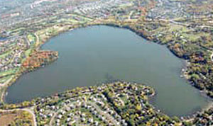 aerial shot of lake