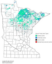 graphic: Map of Minnesota showing location of School Trust Lands