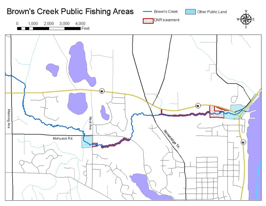 map of Browns Creek public fishing area