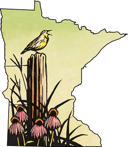 Illustration of Minnesota state outline containing native prairie growing near a fence post with meadowlark on top.