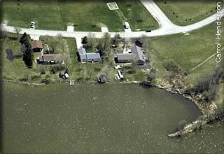 aerial view of suburban lake lots