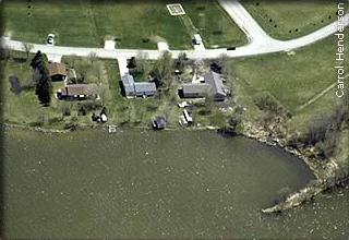 aerial view of suburban lake lots