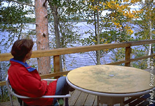 person viewing lake from deck