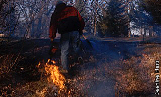 worker setting fire on Lake Minne Belle project prescribed burn