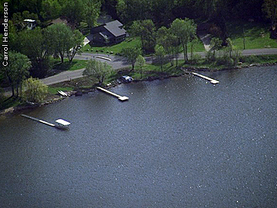 aerial view of Gervais Lake, an established planting site