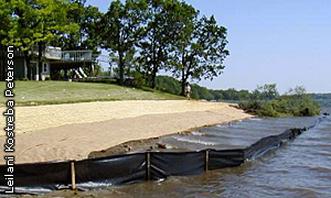 shoreline seeded and covered with erosion control blanket