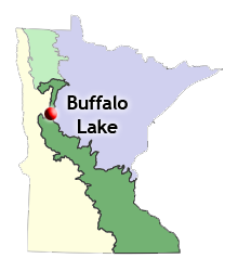 map of biomes statewide and location of Buffalo Lake no mow, let it grow site