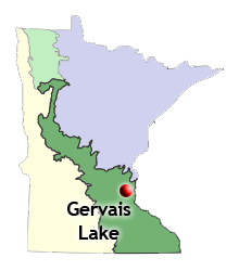 map of biomes statewide and location of Gervais Lake, an established planting site