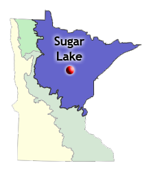 map of biomes statewide and location of Sugar Lake high intensity planting site