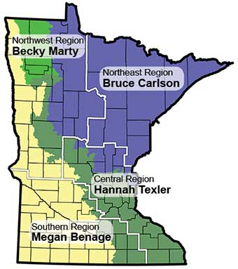 Map of Minnesota showing work areas of Regional Ecologists