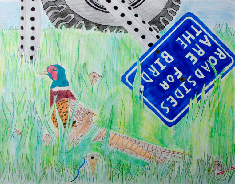 Roadside Wildlife Poster by Victoria Gibson, 1st Place, Judges' Choice.