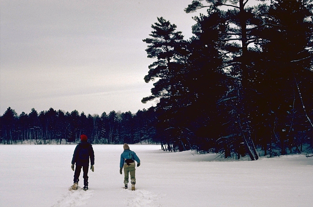 Visitors snowshoeing at Purvis Lake-Ober Foundation SNA