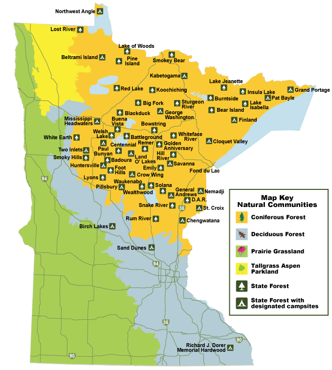 Graphic of State Forest locations