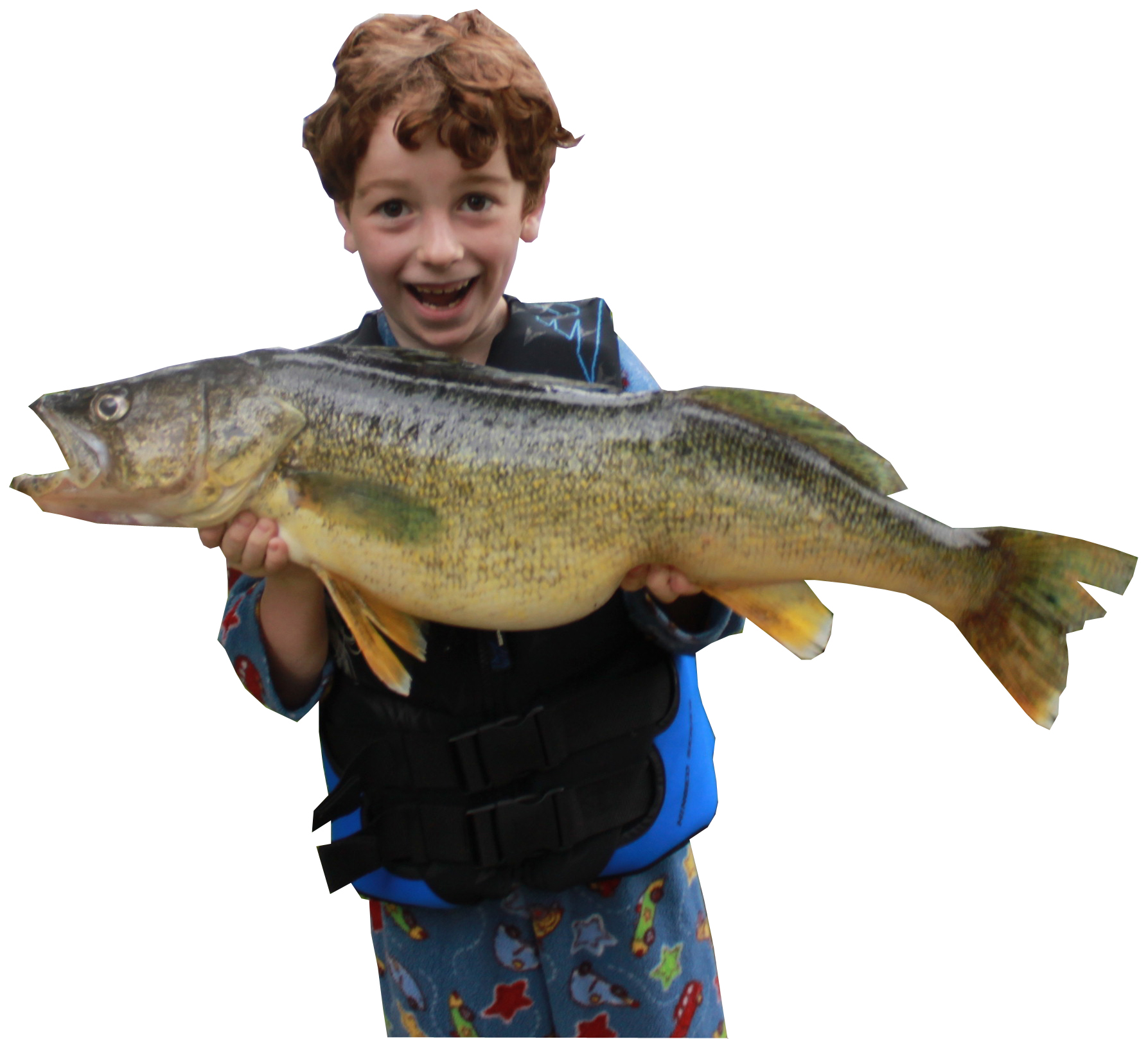 Happy child catches large fish