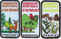 Patches you can collect through the Junior Park Naturalist program: prairie, hardwoods and pinelands naturalist.