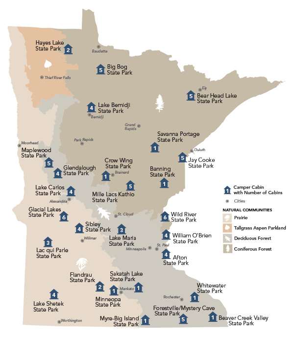 thumbnail graphic of PDF map that shows statewide camper cabin locations. To review a list of camper cabin locations, availabilities and details, visit this website table on http://www.dnr.state.mn.us/state_parks/camper_cabin_list.html
