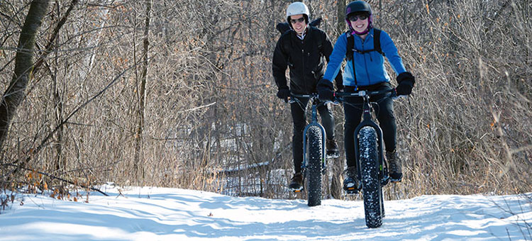 People riding fat tire bikes on a winter trail.