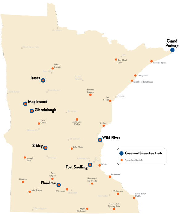 groomed snowshoe trail locations in minnesota