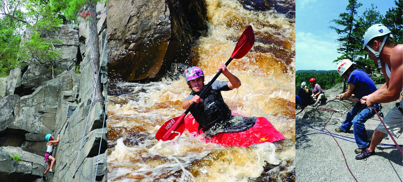 Adrenaline rush activities, rock climbing and whitewater paddling