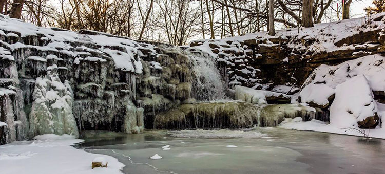Frozen falls at Minneopa State Park.