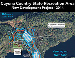 Thumbnail map of the 2014 development projects at Cuyuna Country State Recreation Area
