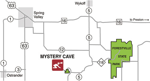 Detail map of directions to Mystery Cave.