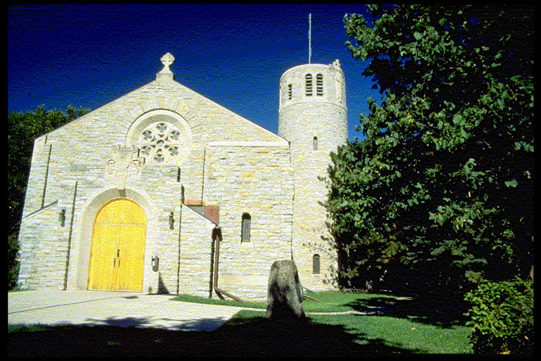 Fort Snelling Memorial Chapel in the summer.