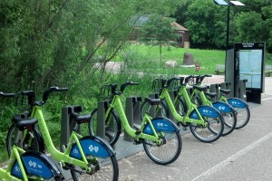 Photo of the Nice Ride bike station at Fort Snelling State Park.
