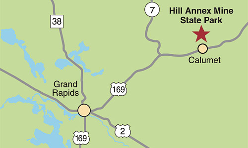 Detail map of directions to Hill Annex Mine.
