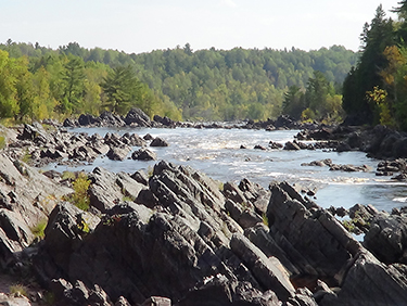 Angular river rock formations in Jay Cooke State Park.