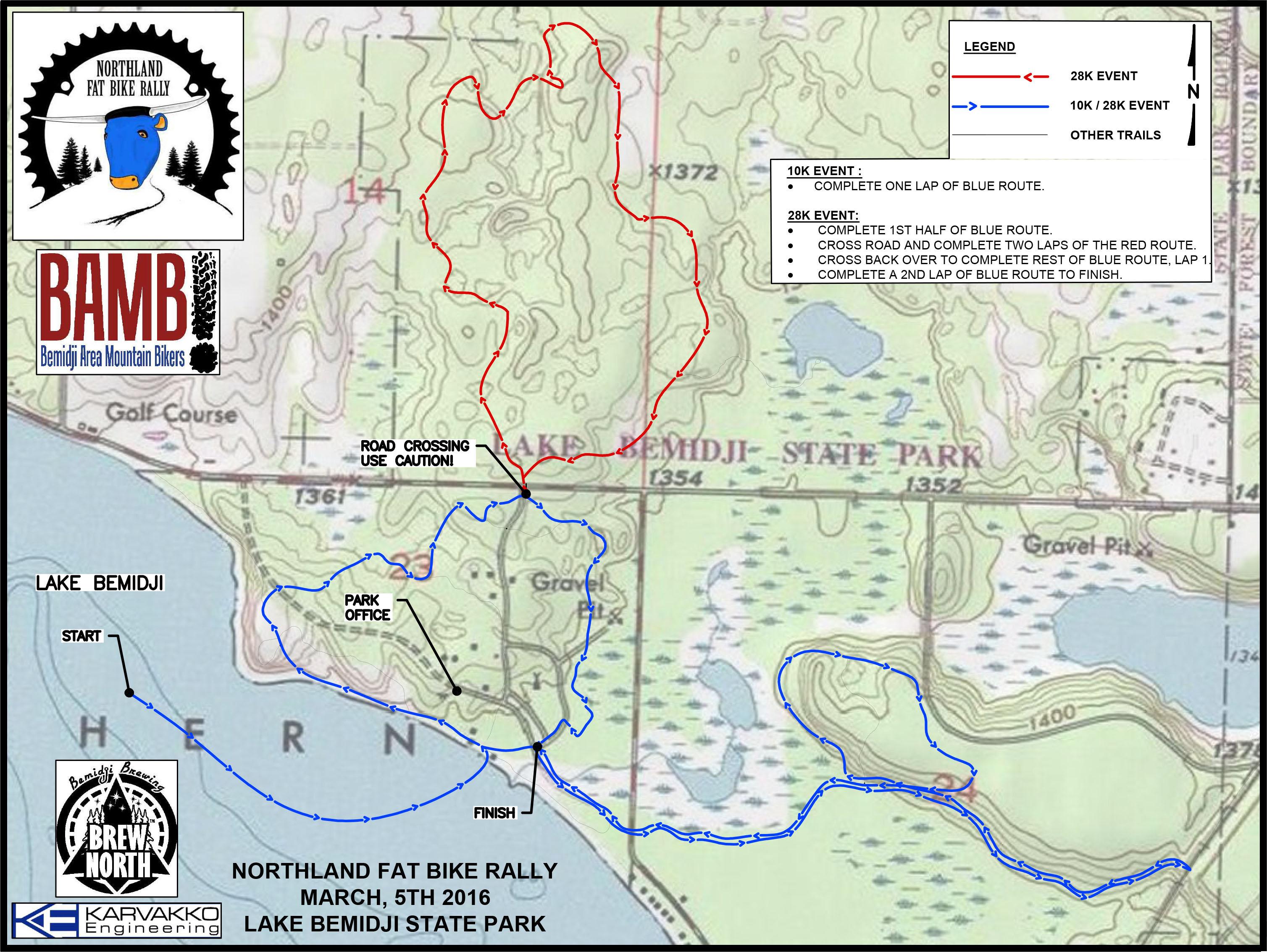 Northland Fat Bike rally map held at Lake Bemidji State Park.
