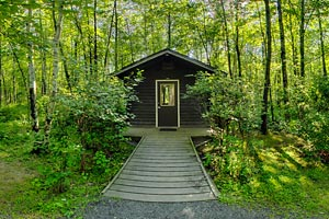 Photo of a cozy camper cabin set in the woods.