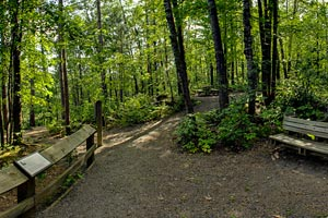 Photo of handicap accessible trail that leads visitors to a rocky overlook including natural features called Hell's Gate Rapids, Blueberry Slide, Mother's Delight, and Teacher's Pet.