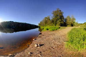 Photo of popular take-out point for canoeists that start their trip on the upper sections of the Kettle River.