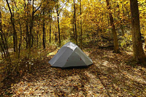 Photo of a tent camper using a campsite that offers a picnic table and fire ring with vault toilets located nearby.