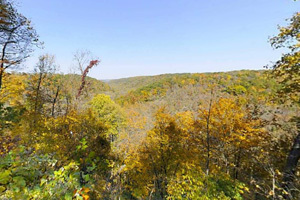 Photo of the overlook on the Switch Back Trail showing far hills sprinkled with rich autumn colors.