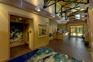 Photo of the interior of the visitor center and interpretive exhibits.