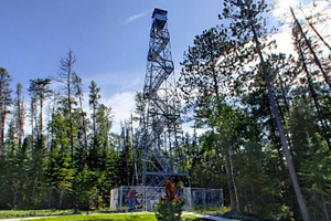 Photo of the renovated, 100 foot fire tower.