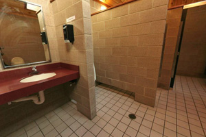 View of restroom interior.