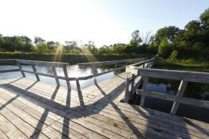 Photo of Brawner Lake fishing pier located on the western lakeshore.
