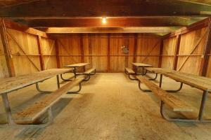 Photo of the tables located inside the south picnic shelter.