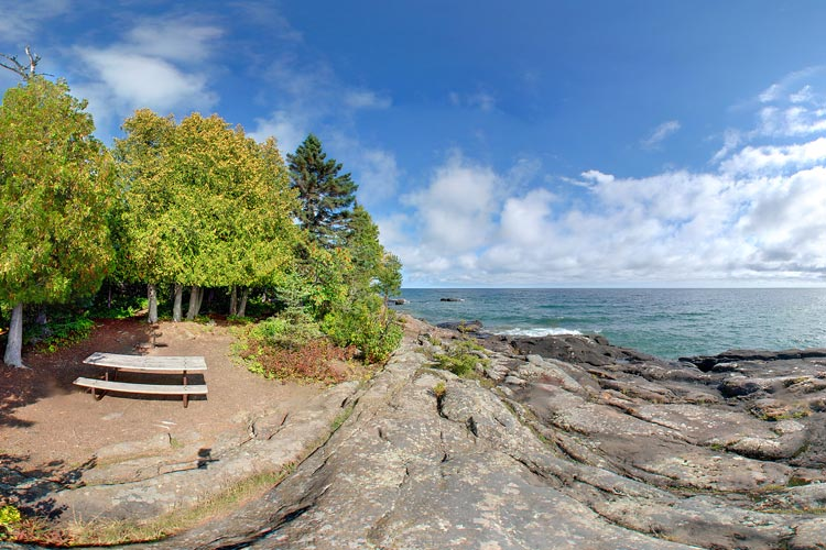Photo of pretty picnic spots located on the Lake Superior shore.