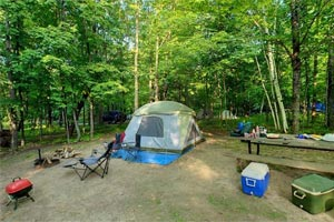 Photo of a campsite set up at the more secluded Maple Grove Campground at Father Hennepin State Park.
