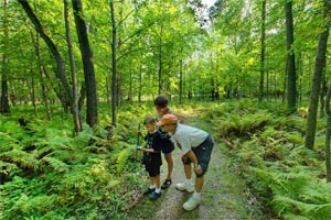 Photo of a family learning to geocache at Father Hennepin State Park.