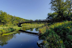 Photo of the Big Spring Trail bridge spanning the South Branch Root River.