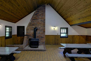 Photo of the fireplace within the picnic shelter.