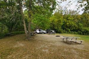 Photo of the primitive group campsite, offering gathering areas and secluded tent spots.