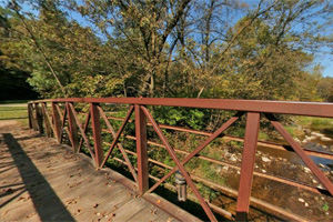 Photo of a bridge spanning Fort Ridgely Creek.