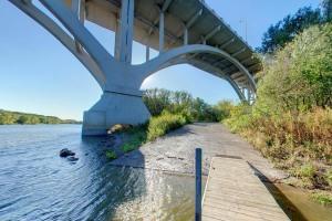 Photo of the boat ramp under the Mendota Bridge along the Mississippi River.