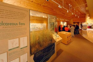 Photo looking inside the visitor center at the center's interpretive exhibits.